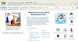 NCCS SharePoint Site Home Page