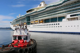 cruise ship and pilot vessel
